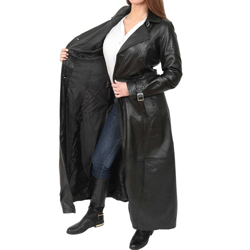 release info on super cheap compares to purchase newest Women's Full Length Leather Double Breasted Reefer Trench Coat
