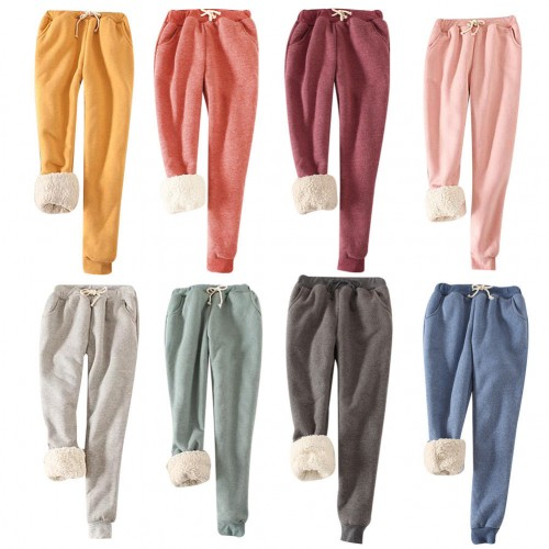 Women Winter Thick Warm Fleece Lined Thermal Stretchy Pants Trousers  Sweatpants 31602fbee044