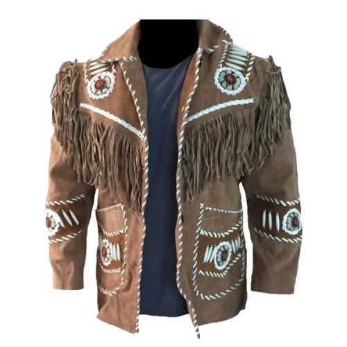 Men/'s Traditional Western cowboy Leather Jacket coat With Fringed Style